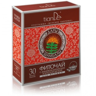 """TianDe """"Žolelių arbata su kininiu skudučiu ir rodiole"""" 30 pakelių"""