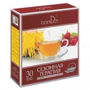 """Žolelių miltelių arbata """"Sezoninė terapija su liepų žiedais, saldymedžiu ir avietėmis"""" 30 pakelių"""